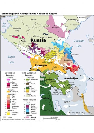 CIA Map of Ethnolinguistic Groups in the Caucasus Region 2004. Print/Poster (4905)